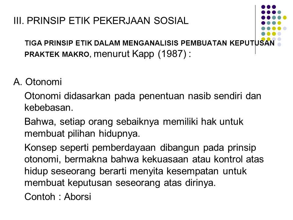 III. PRINSIP ETIK PEKERJAAN SOSIAL