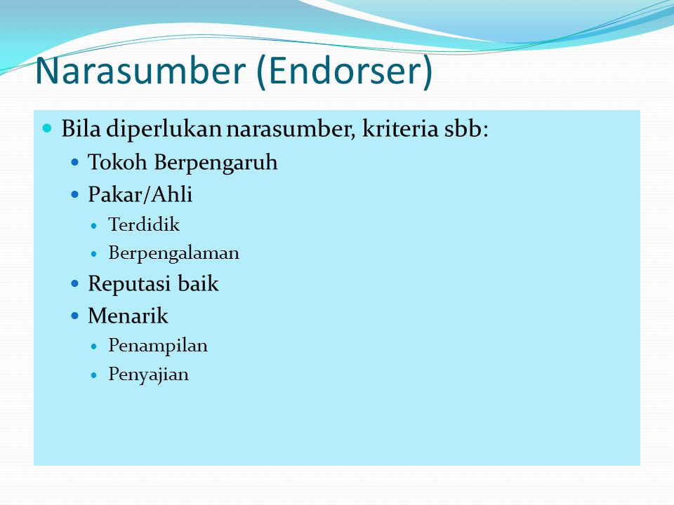 Narasumber (Endorser)