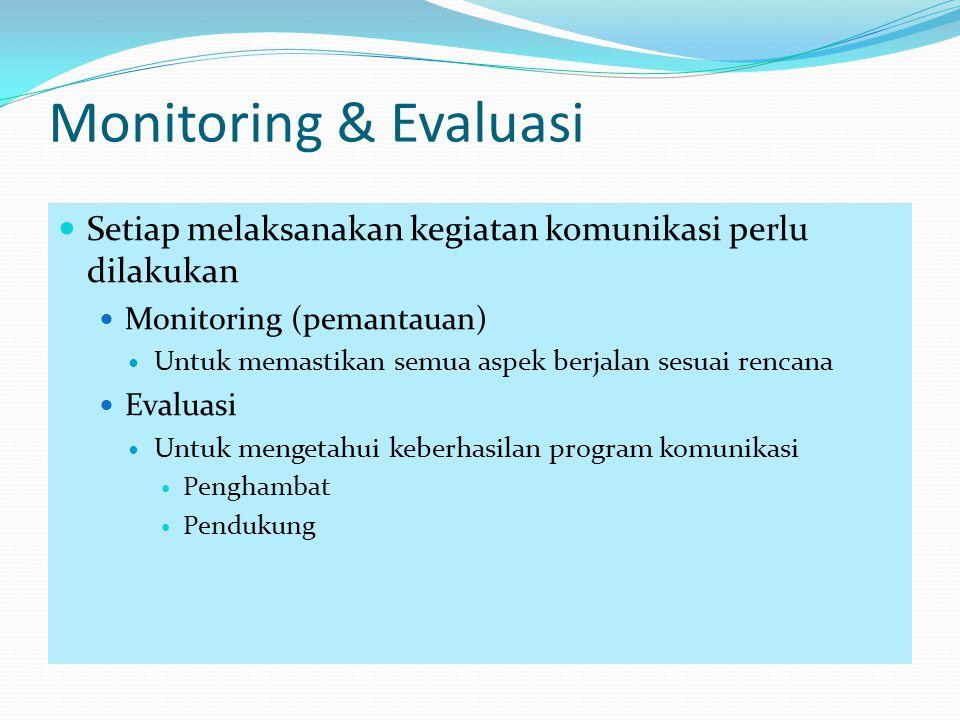 Monitoring & Evaluasi Setiap melaksanakan kegiatan komunikasi perlu dilakukan. Monitoring (pemantauan)