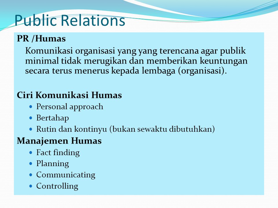 Public Relations PR /Humas