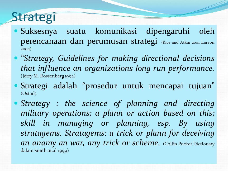 Strategi Suksesnya suatu komunikasi dipengaruhi oleh perencanaan dan perumusan strategi (Rice and Atkin 2001 Larson 2004).
