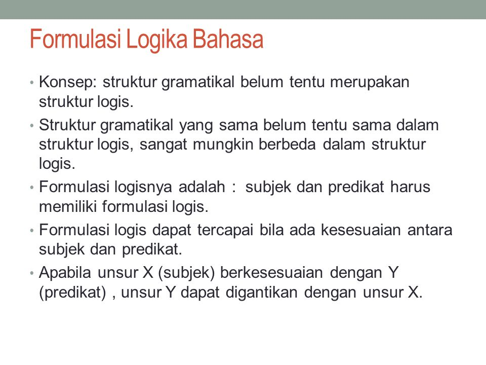 Formulasi Logika Bahasa