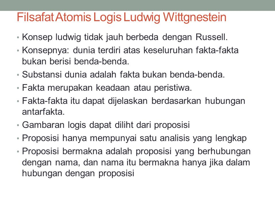 Filsafat Atomis Logis Ludwig Wittgnestein