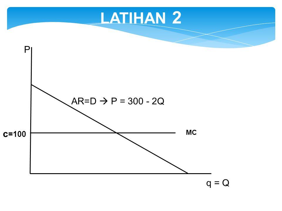 LATIHAN 2 P AR=D  P = 300 - 2Q c=100 MC q = Q