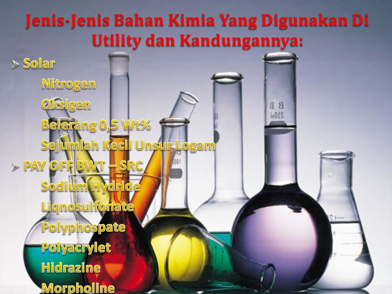 Jenis-Jenis Bahan Kimia Yang Digunakan Di Utility dan Kandungannya: