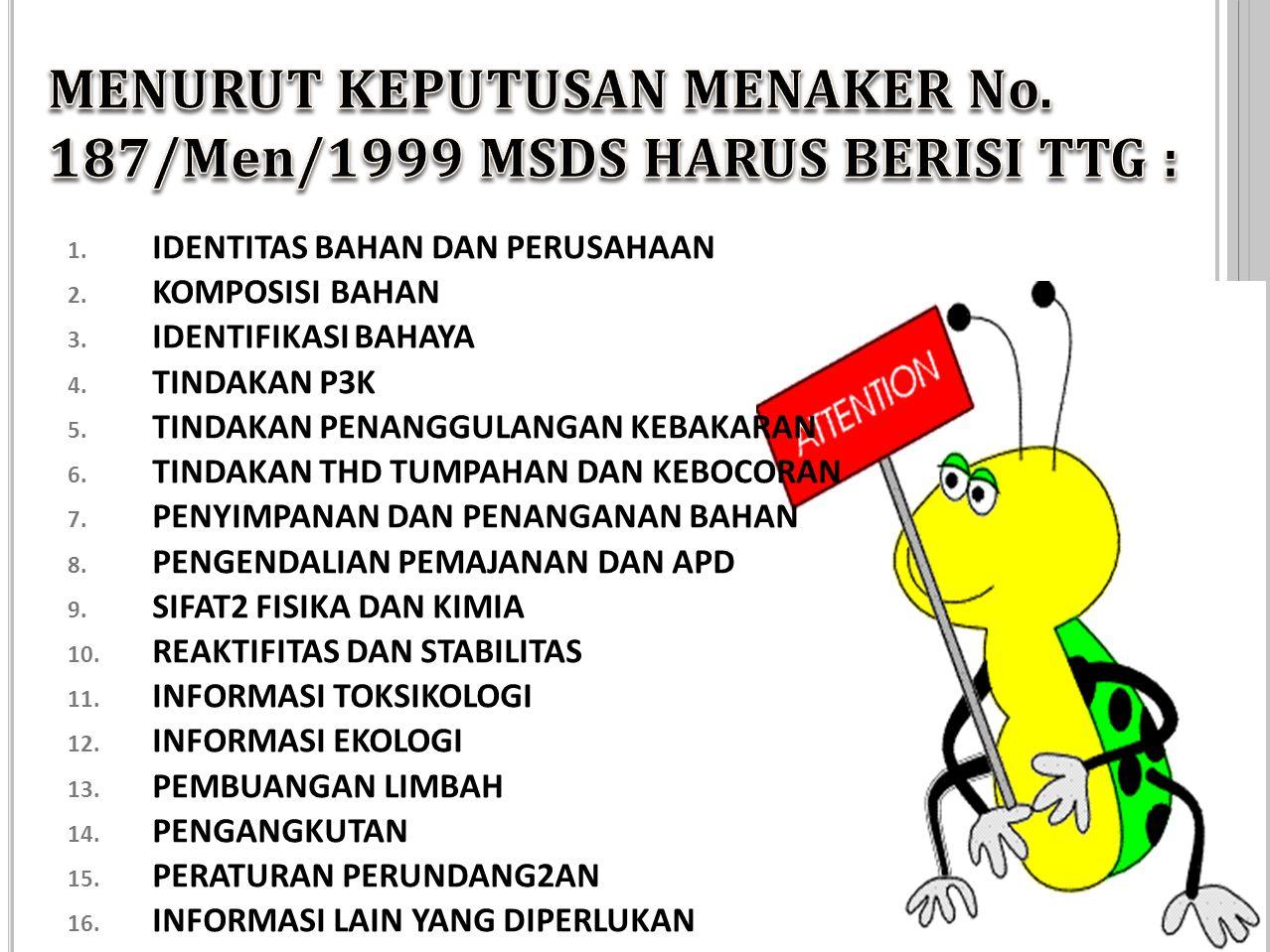 MENURUT KEPUTUSAN MENAKER No. 187/Men/1999 MSDS HARUS BERISI TTG :