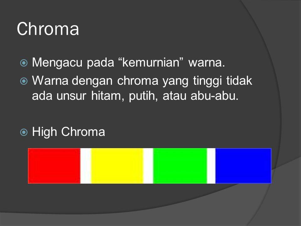 Chroma Mengacu pada kemurnian warna.