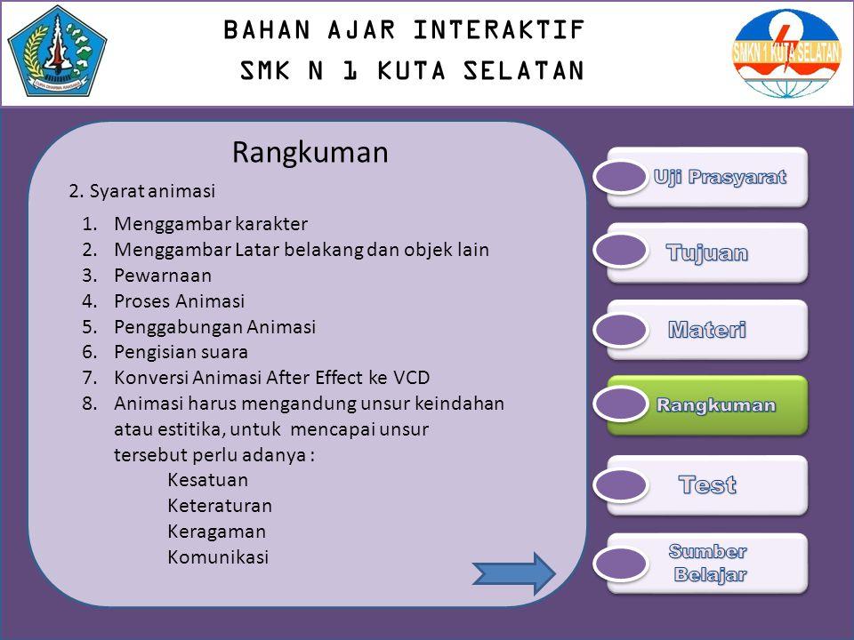 Rangkuman BAHAN AJAR INTERAKTIF SMK N 1 KUTA SELATAN Test Tujuan