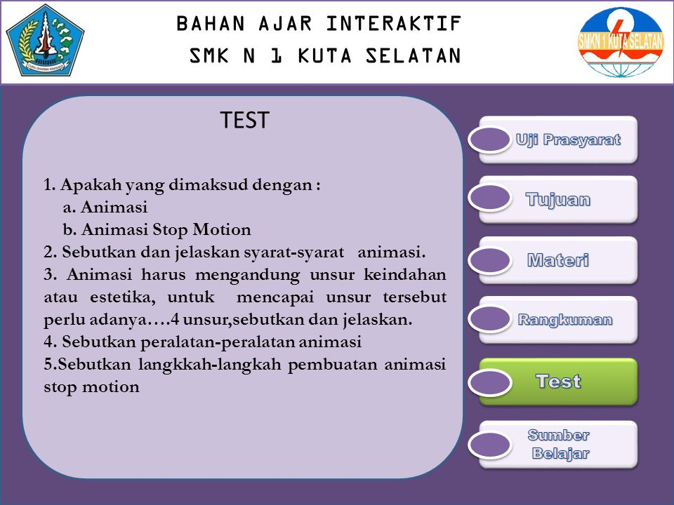 TEST BAHAN AJAR INTERAKTIF SMK N 1 KUTA SELATAN