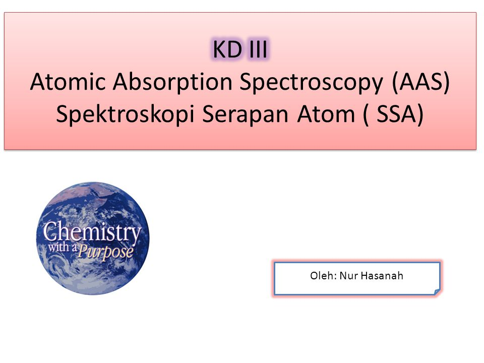 KD III Atomic Absorption Spectroscopy (AAS) Spektroskopi Serapan Atom ( SSA)