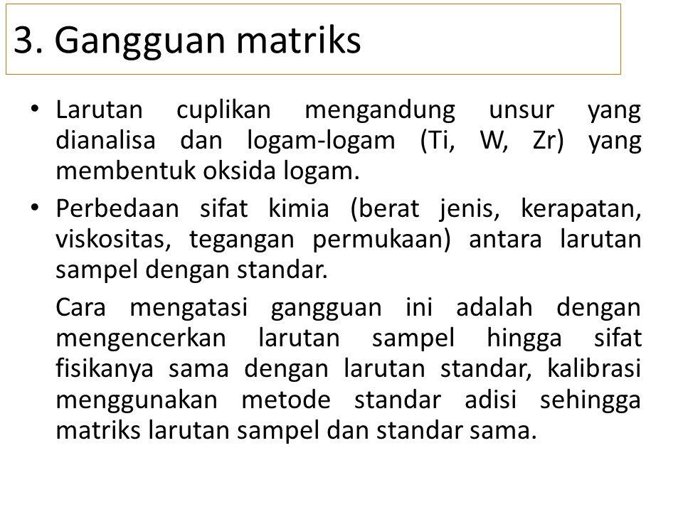 3. Gangguan matriks Larutan cuplikan mengandung unsur yang dianalisa dan logam-logam (Ti, W, Zr) yang membentuk oksida logam.