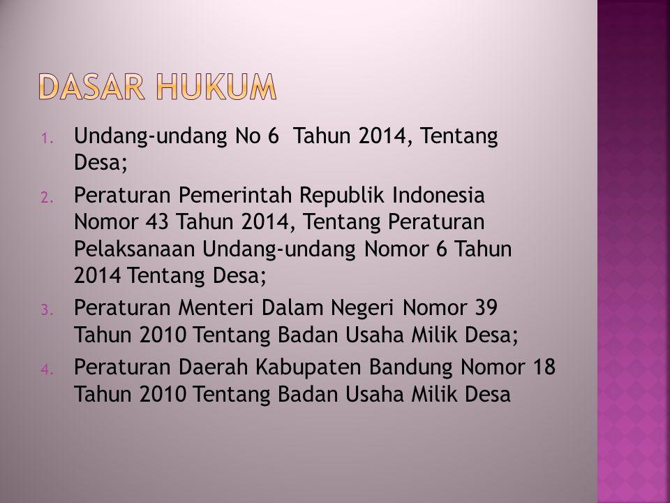 DASAR HUKUM Undang-undang No 6 Tahun 2014, Tentang Desa;