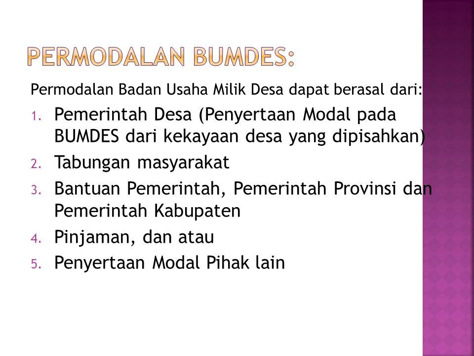 Permodalan BUMDES: Permodalan Badan Usaha Milik Desa dapat berasal dari: