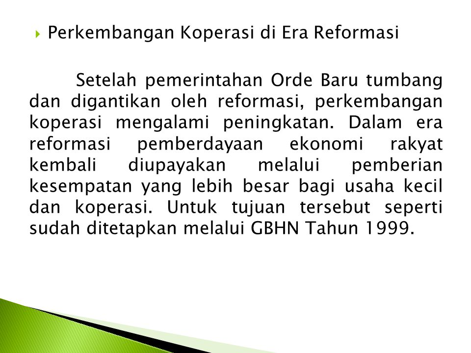 Perkembangan Koperasi di Era Reformasi