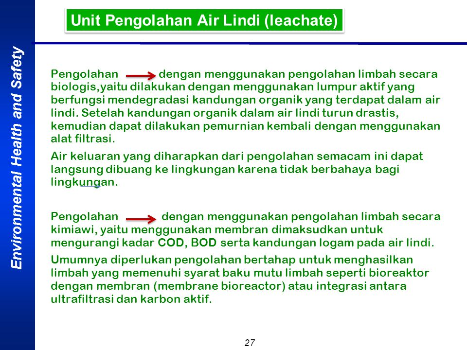 Unit Pengolahan Air Lindi (leachate)