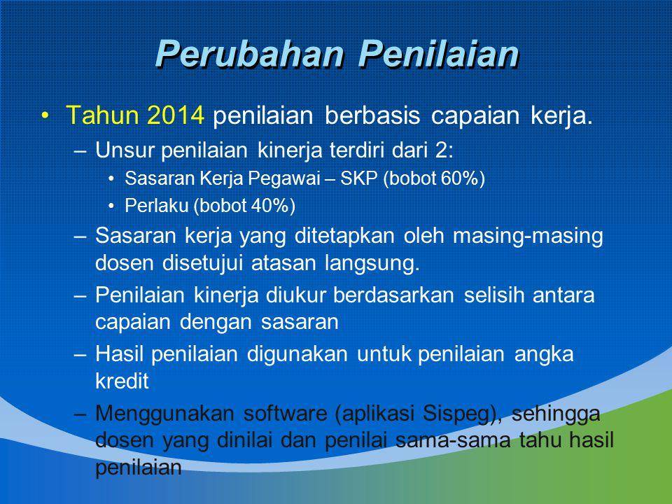 Perubahan Penilaian Tahun 2014 penilaian berbasis capaian kerja.