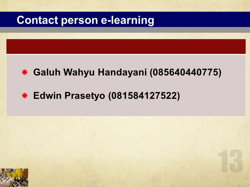 Contact person e-learning