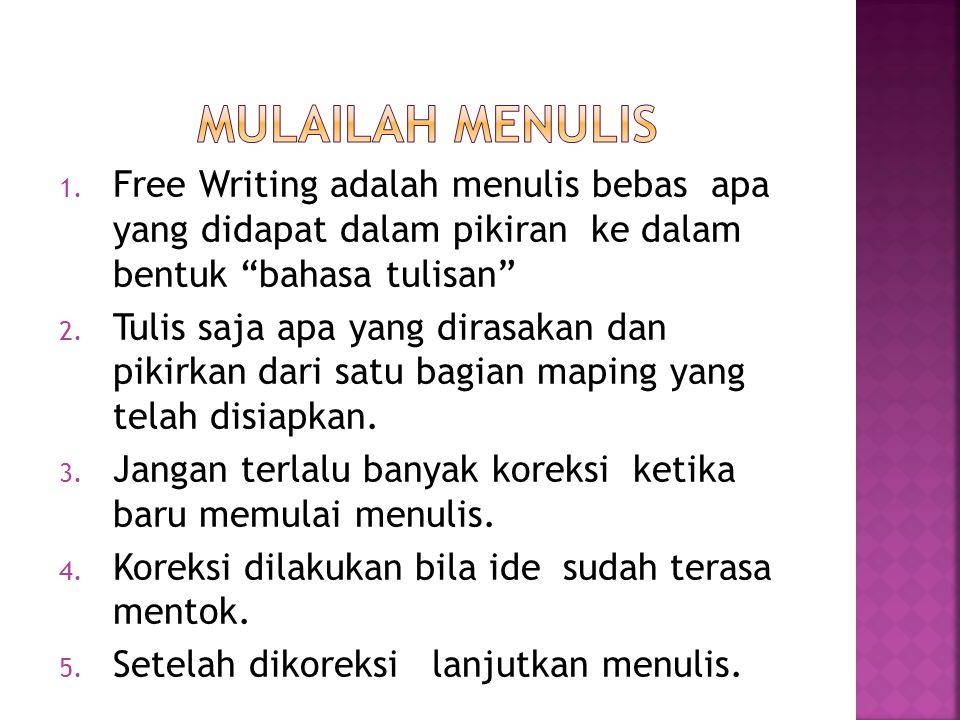 MULAILAH MENULIS Free Writing adalah menulis bebas apa yang didapat dalam pikiran ke dalam bentuk bahasa tulisan