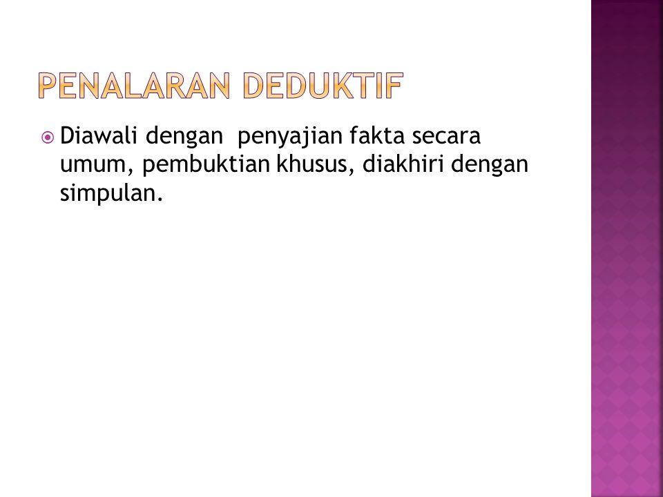 Penalaran deduktif Diawali dengan penyajian fakta secara umum, pembuktian khusus, diakhiri dengan simpulan.