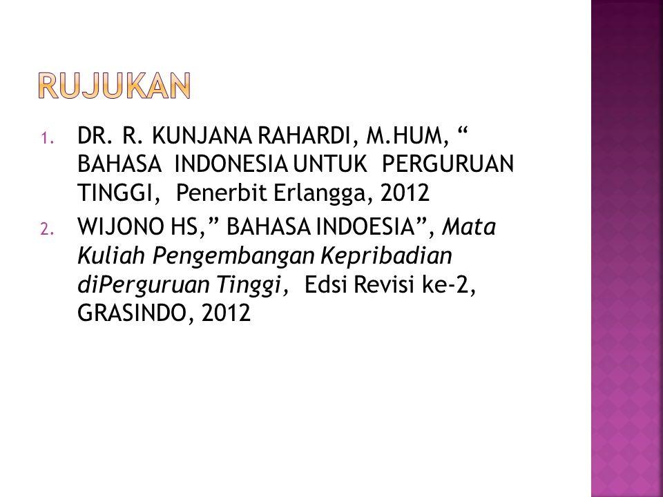RUJUKAN DR. R. KUNJANA RAHARDI, M.HUM, BAHASA INDONESIA UNTUK PERGURUAN TINGGI, Penerbit Erlangga, 2012.