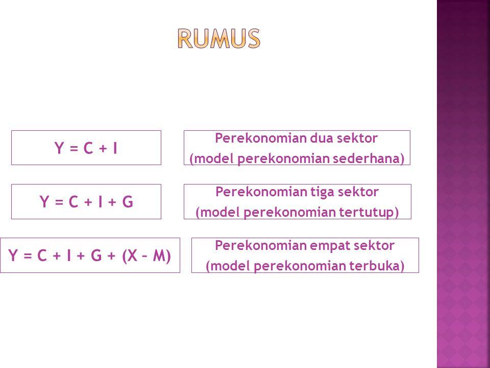 Rumus Y = C + I Y = C + I + G Y = C + I + G + (X – M)