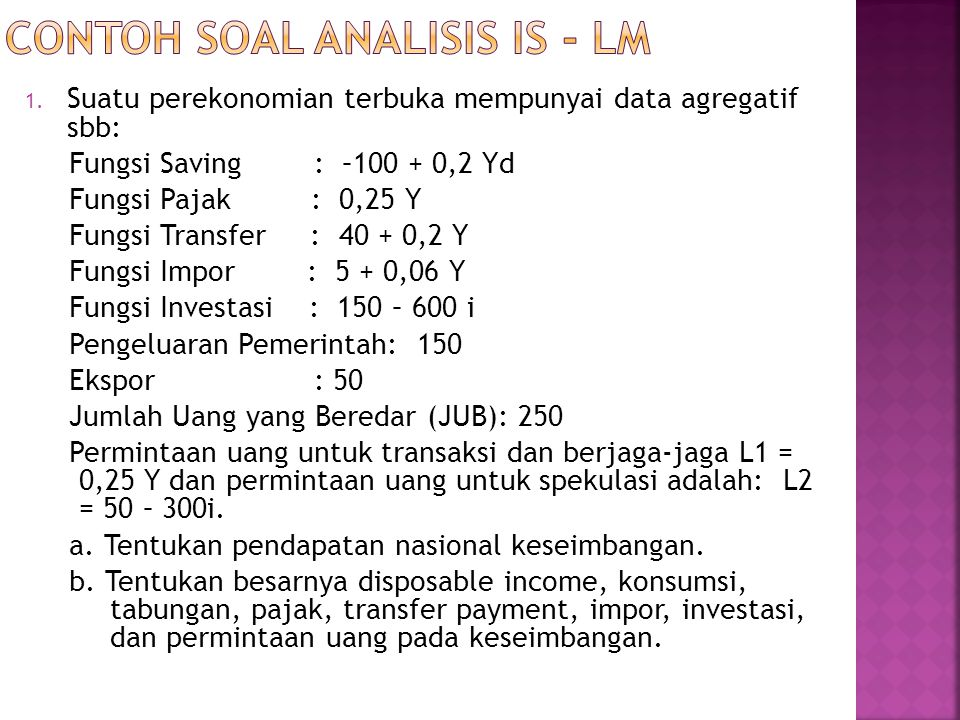 Contoh soal analisis IS - LM