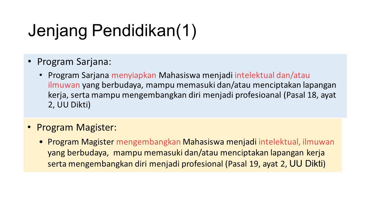 Jenjang Pendidikan(1) Program Sarjana: Program Magister: