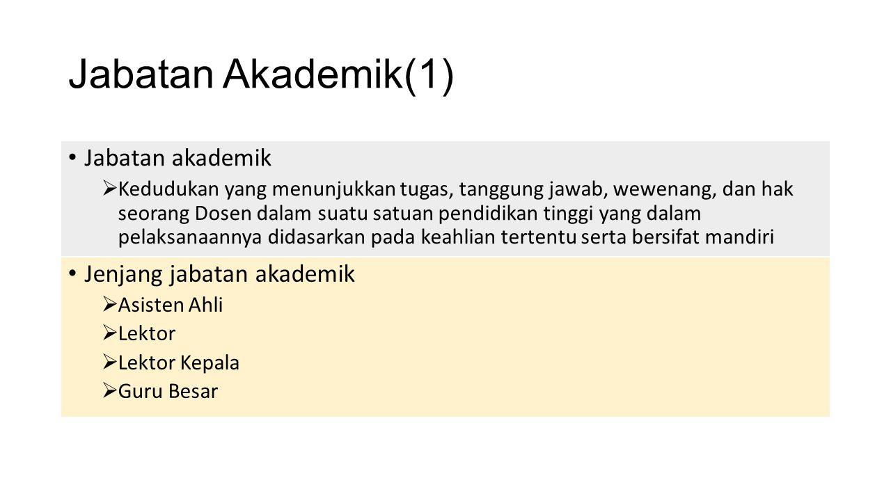 Jabatan Akademik(1) Jabatan akademik Jenjang jabatan akademik