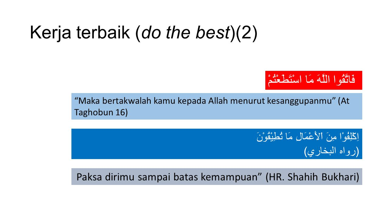 Kerja terbaik (do the best)(2)