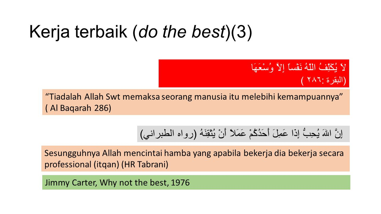 Kerja terbaik (do the best)(3)