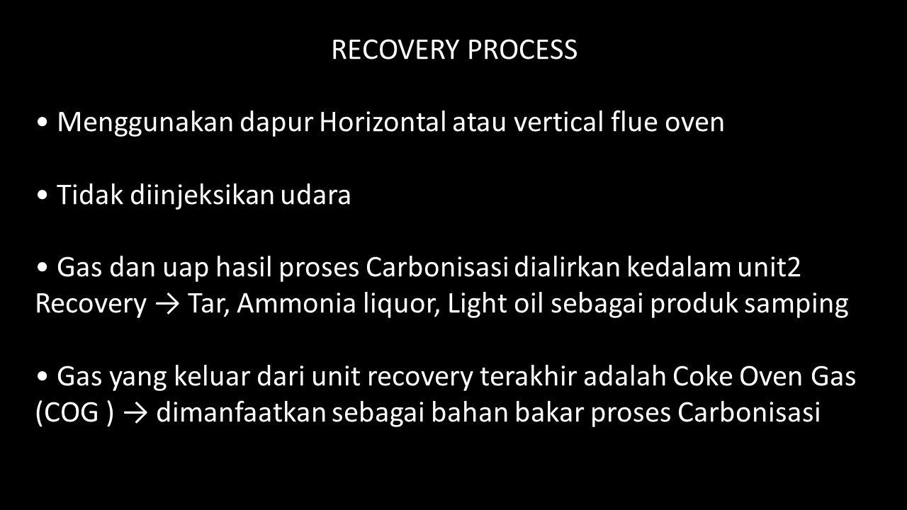RECOVERY PROCESS • Menggunakan dapur Horizontal atau vertical flue oven. • Tidak diinjeksikan udara.