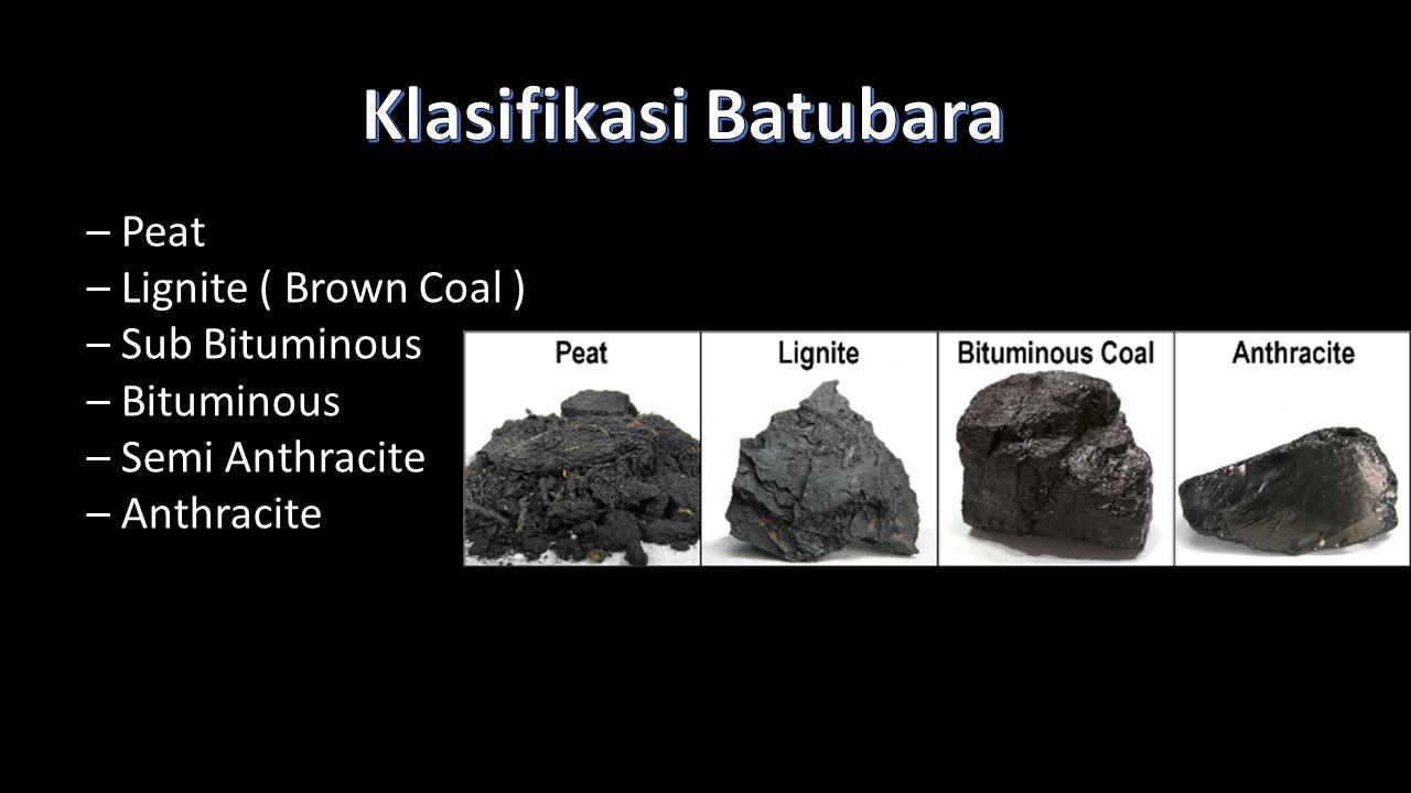 Klasifikasi Batubara – Peat – Lignite ( Brown Coal ) – Sub Bituminous