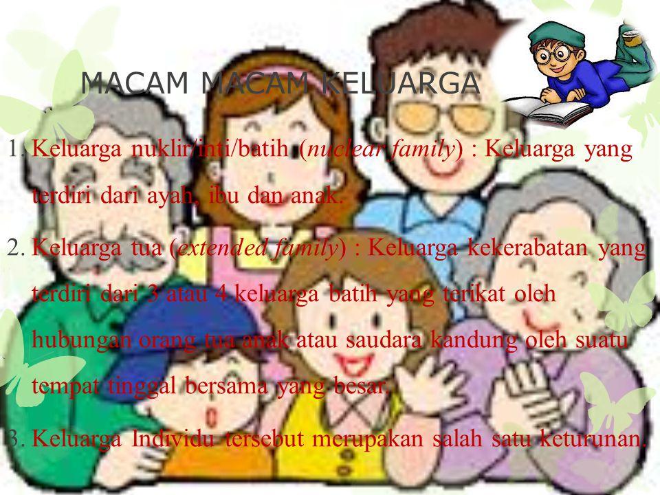 MACAM MACAM KELUARGA Keluarga nuklir/inti/batih (nuclear family) : Keluarga yang terdiri dari ayah, ibu dan anak.