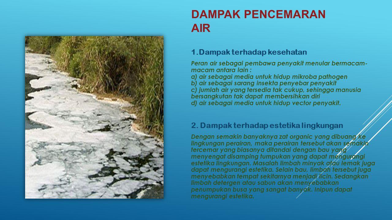Dampak pencemaran air 1.Dampak terhadap kesehatan