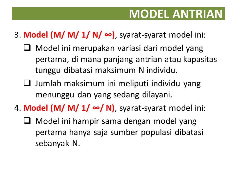 MODEL ANTRIAN 3. Model (M/ M/ 1/ N/ ∞), syarat-syarat model ini: