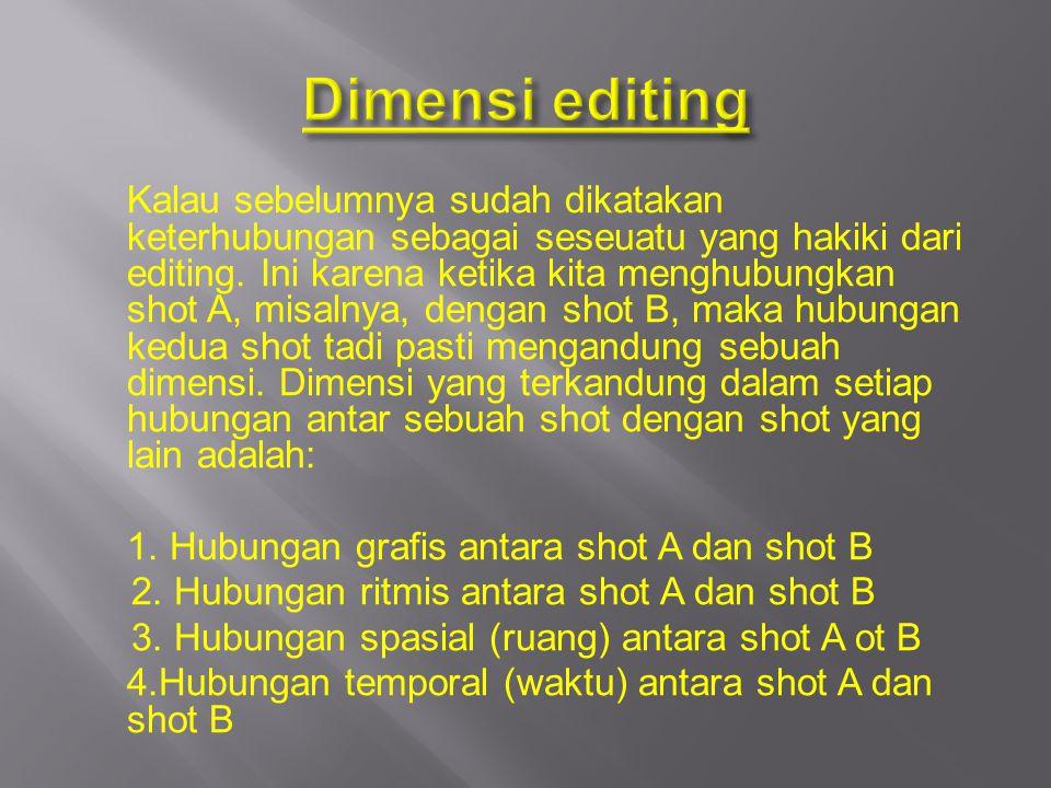 Dimensi editing 1. Hubungan grafis antara shot A dan shot B