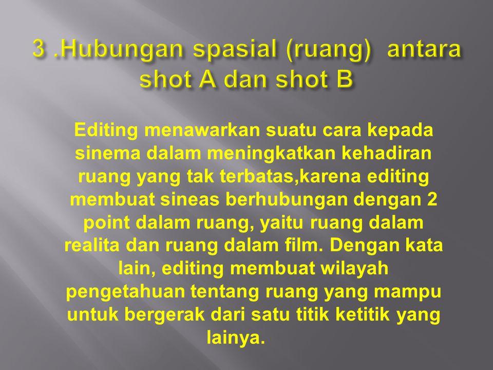 3 .Hubungan spasial (ruang) antara shot A dan shot B