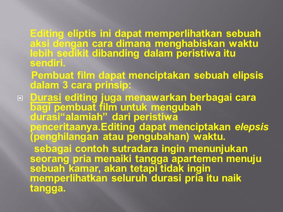 Pembuat film dapat menciptakan sebuah elipsis dalam 3 cara prinsip: