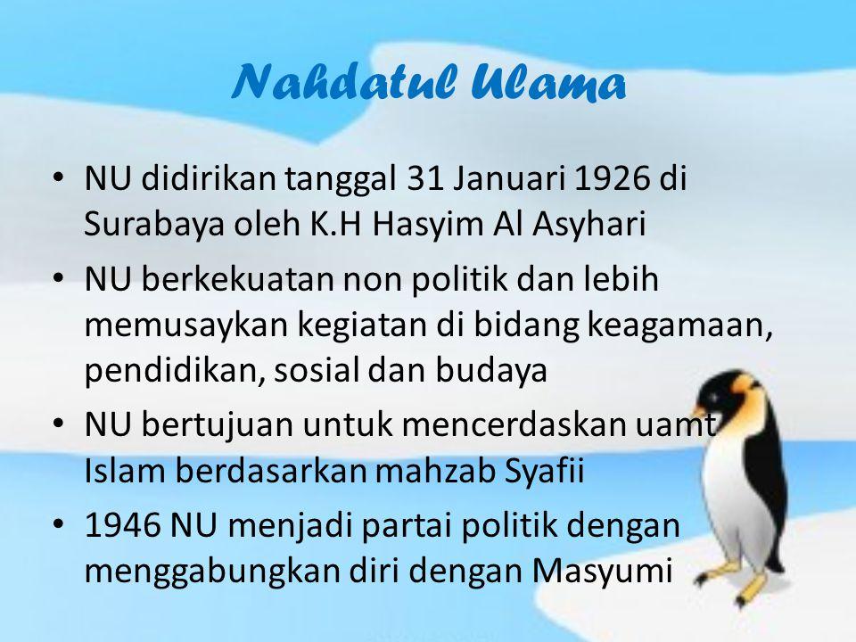 Nahdatul Ulama NU didirikan tanggal 31 Januari 1926 di Surabaya oleh K.H Hasyim Al Asyhari.