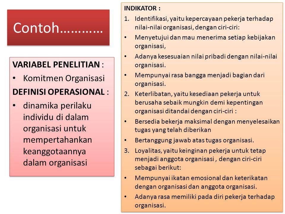 Contoh………… VARIABEL PENELITIAN : Komitmen Organisasi