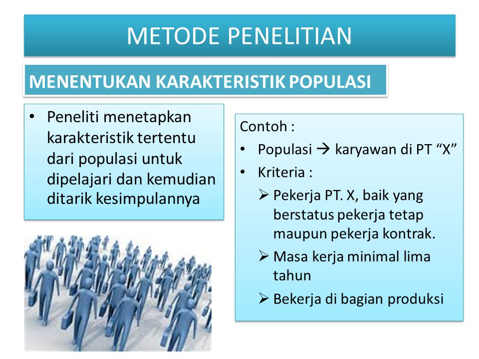 METODE PENELITIAN MENENTUKAN KARAKTERISTIK POPULASI