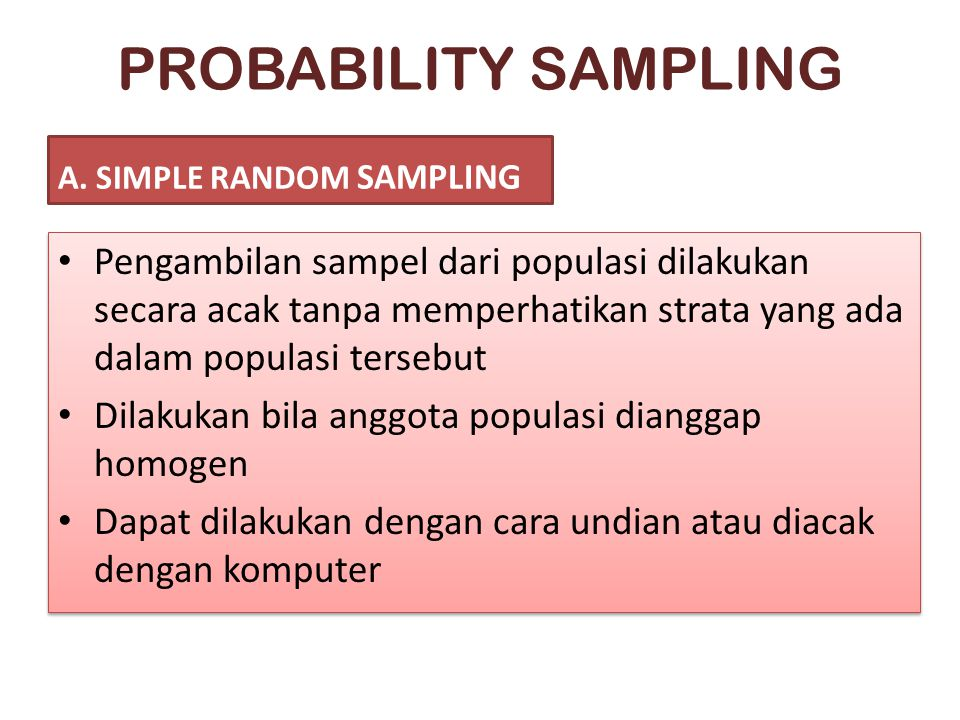PROBABILITY SAMPLING A. SIMPLE RANDOM SAMPLING.