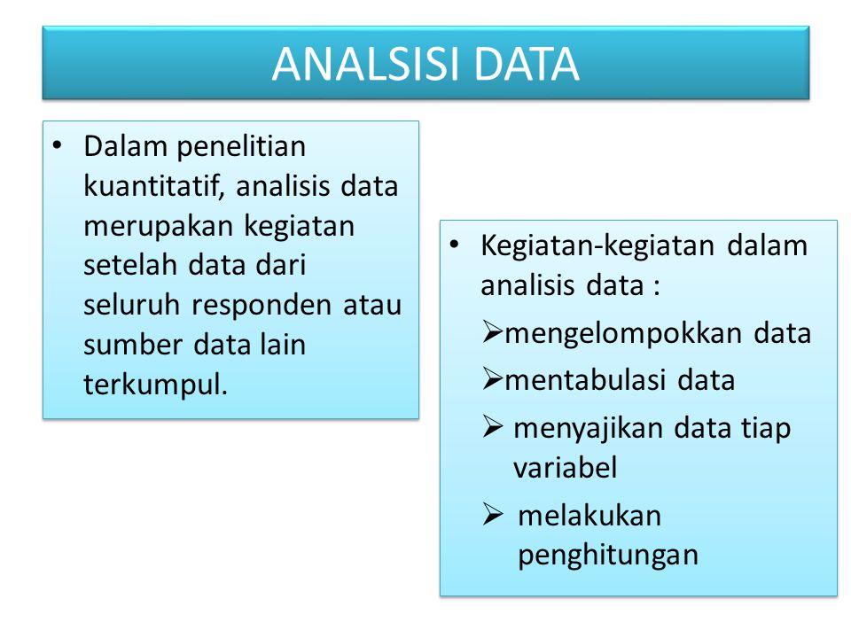 ANALSISI DATA Dalam penelitian kuantitatif, analisis data merupakan kegiatan setelah data dari seluruh responden atau sumber data lain terkumpul.