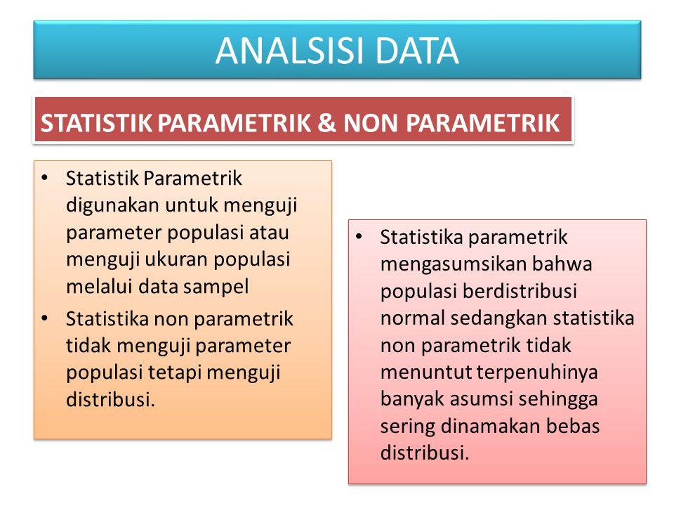 ANALSISI DATA STATISTIK PARAMETRIK & NON PARAMETRIK