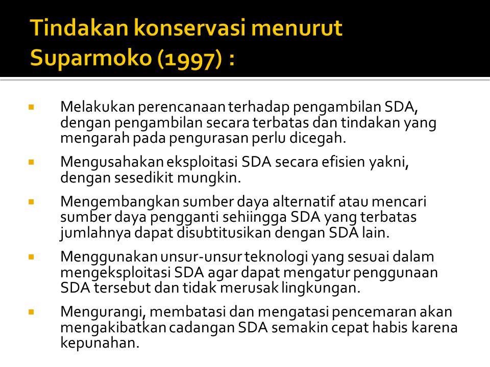 Tindakan konservasi menurut Suparmoko (1997) :