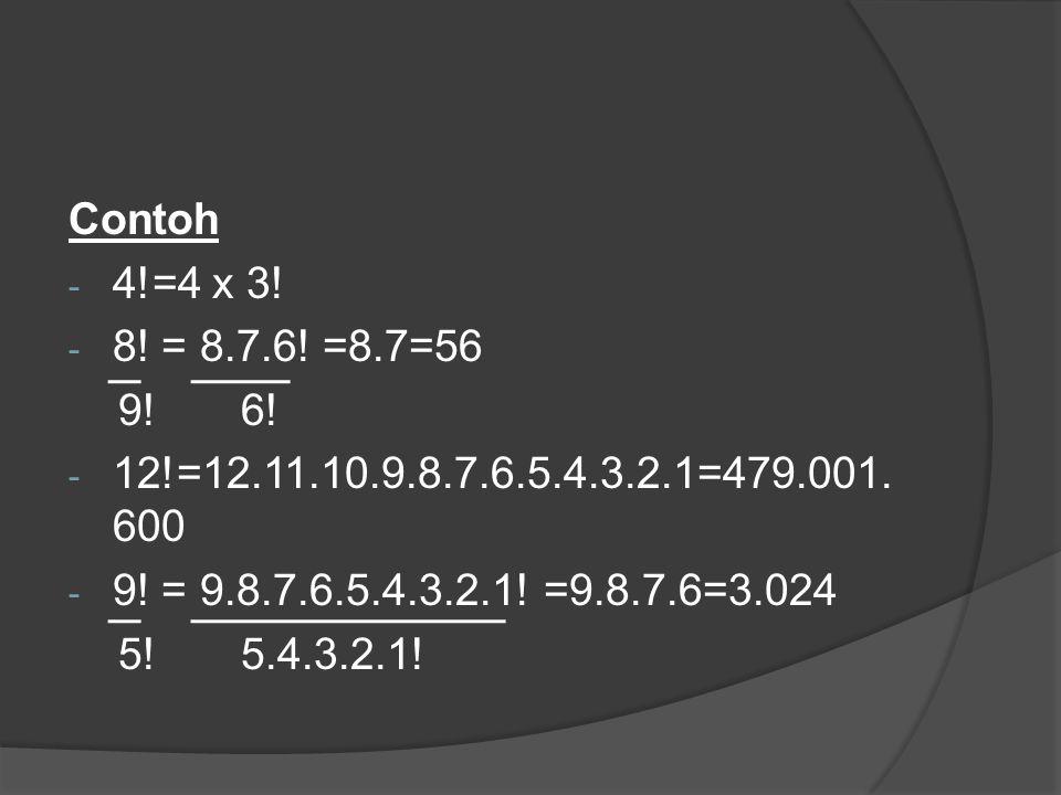 Contoh 4!=4 x 3! 8! = 8.7.6! =8.7=56. 9! 6! 12!=12.11.10.9.8.7.6.5.4.3.2.1=479.001.600. 9! = 9.8.7.6.5.4.3.2.1! =9.8.7.6=3.024.