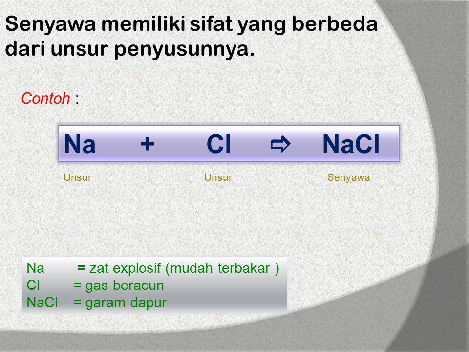 Senyawa memiliki sifat yang berbeda dari unsur penyusunnya.