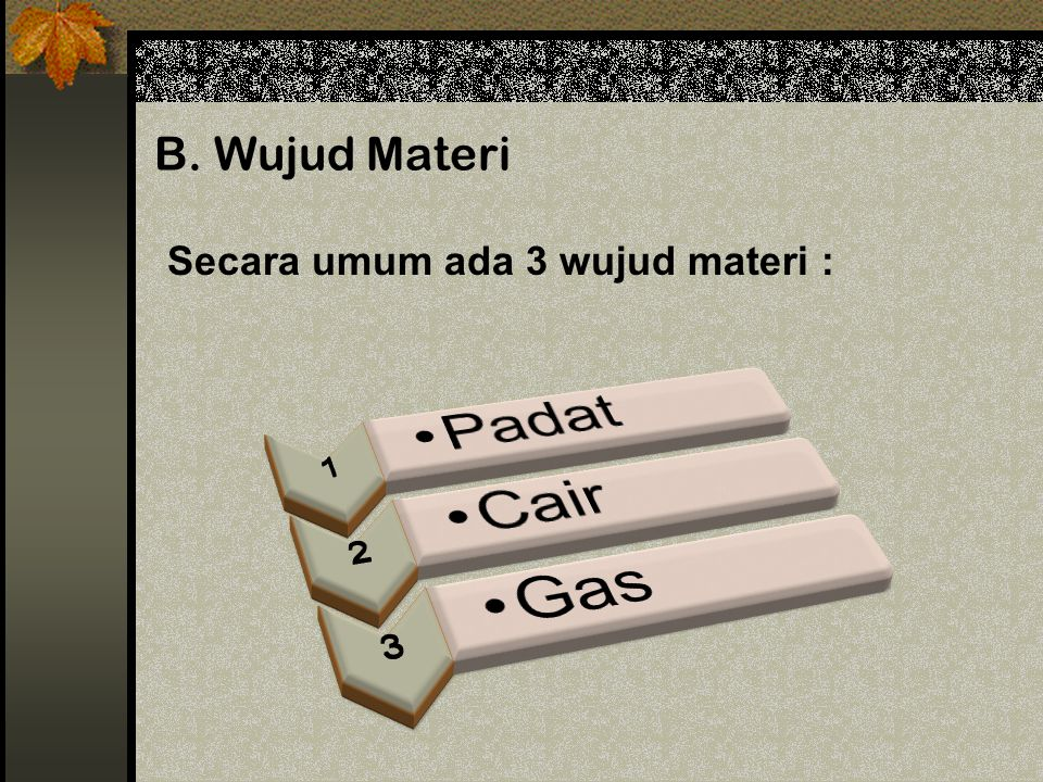 B. Wujud Materi Secara umum ada 3 wujud materi : 1 Padat 2 Cair 3 Gas
