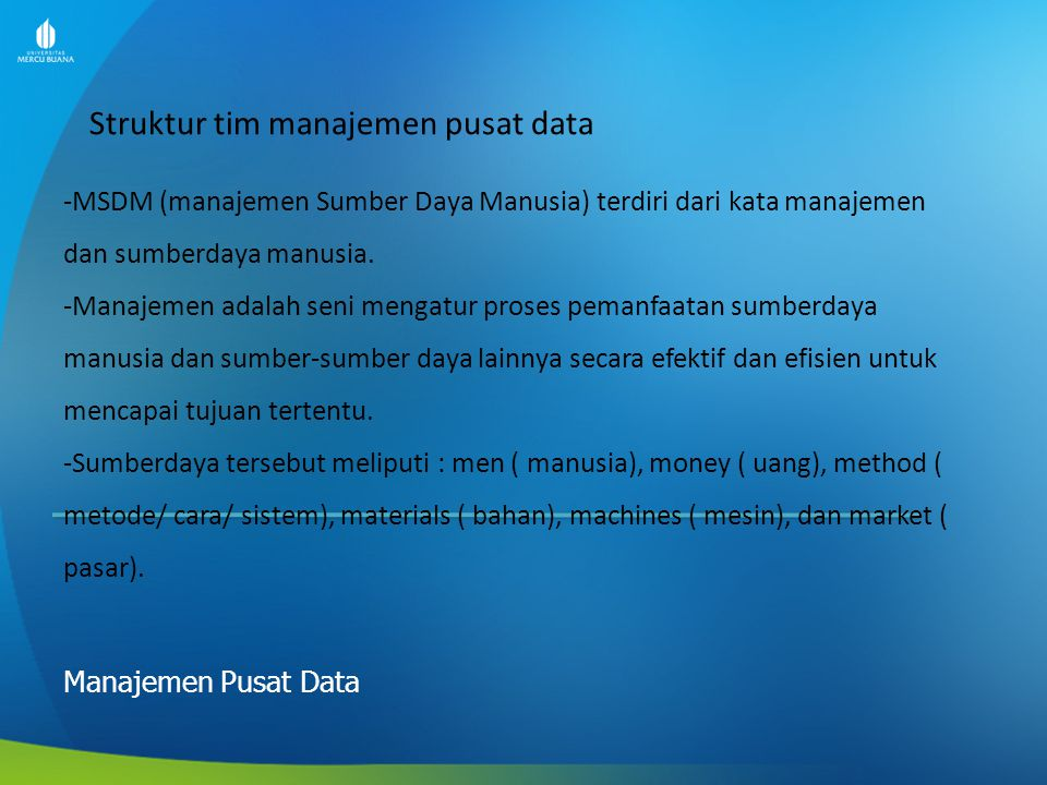 Struktur tim manajemen pusat data