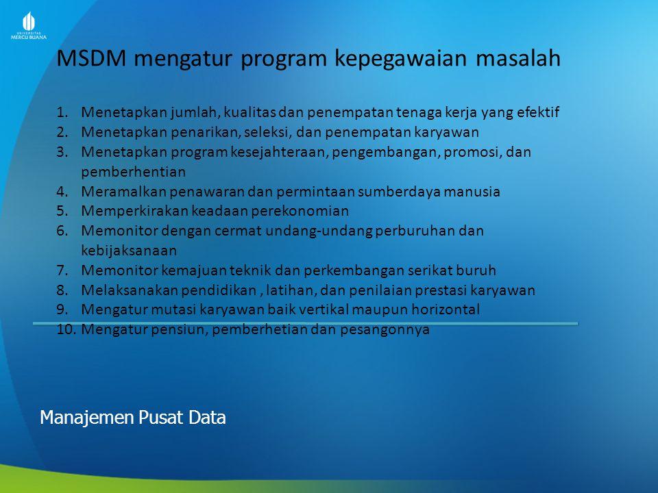 MSDM mengatur program kepegawaian masalah
